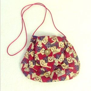 Small Red Tan and Navy Necktie Purse
